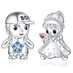 Crystal Boy Girl Bead Charm Bundle Set